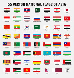 collection 55 national flags asia vector image