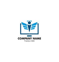 computer angel logo design vector image