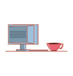computer monitor with cup coffee isolated icon vector image