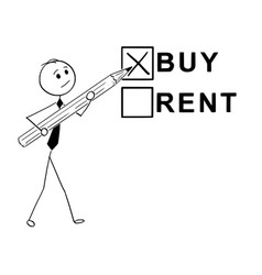 Conceptual cartoon of buy or rent business vector