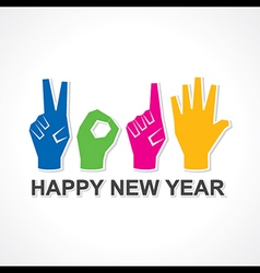 creative happy new year 2015 design with finger vector image