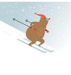 Cute bear is skiing vector