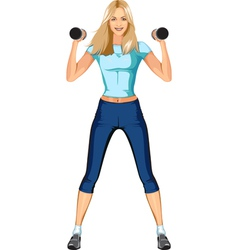 Cute blond fitness woman vector