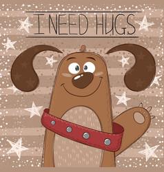 cute funny dog - cartoon vector image