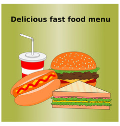 Delicious fast food menu icon vector