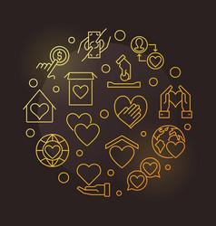 Donate circular golden vector