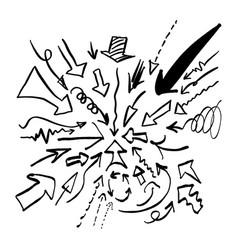 Doodle arrow set sketch hand drawn vector
