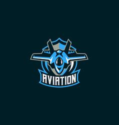 emblem of a military aircraft aircraft logo vector image