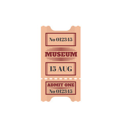 Entry ticket to museum isolated admit one card vector