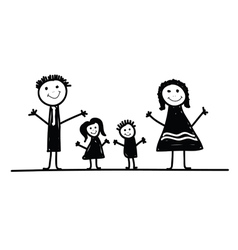 family cartoon in black vector image