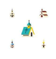 Flat icon church set of structure church vector