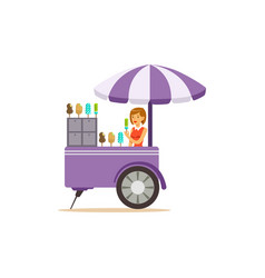 Flat street food cart with ice cream vector