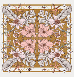 Flower botanical set in rectangle frame scarf vector