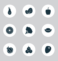 food icons set with coconut broccoli pear and vector image
