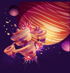 future spaceship or orbital station crash vector image