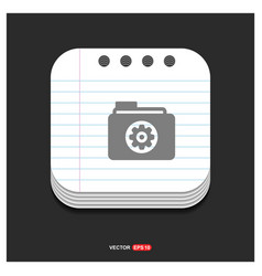 gear box icon gray icon on notepad style template vector image