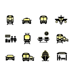 glossy transport icons vector image