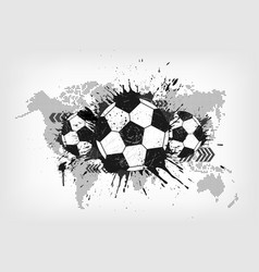 grunge abstract football with world map and dust vector image