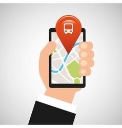 Hand holds phone navigation app train station vector