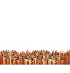 Hands raised upwards volunteering or voting vector