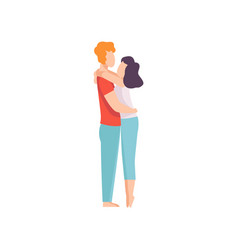 Happy couple hugging each other romantic couple vector