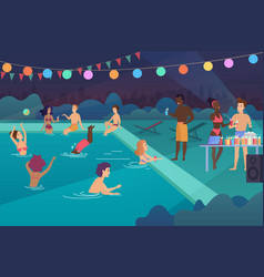 Happy young people having a pool party at night vector