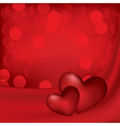 hearts on the red silk background vector image