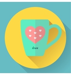Hot coffee or tea cup flat icon with pink heart vector