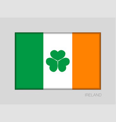 Ireland flag with shamrock national ensign aspect vector