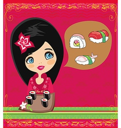 Japanese girl enjoying the sushi vector image
