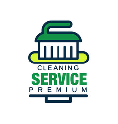 Linear logo for cleaning agency with brush vector