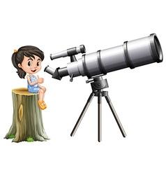 Little girl looking through telescope vector