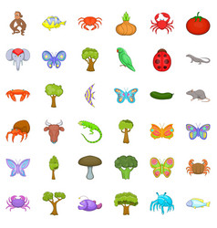 Live nature icons set cartoon style vector