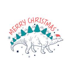 Merry christmas and cute dinosaur vector
