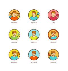 minimal lineart flat social network icon set vector image