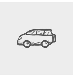 Minivan sketch icon vector