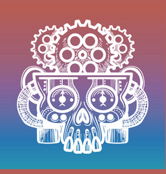 monsters skull with brain gears vector image