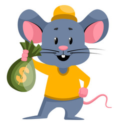 Mouse with money on white background vector