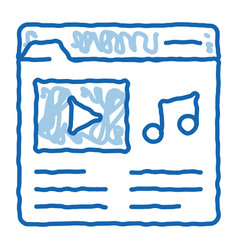Music folder with songs doodle icon hand drawn vector