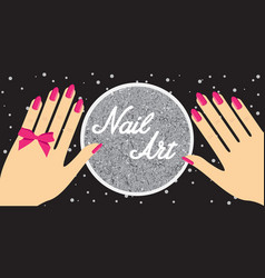 Nail artwoman hand with red fingernails gift vector