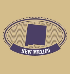 New Mexico map silhouette - oval stamp of state vector image