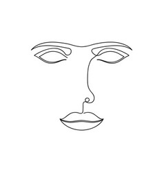 One line abstract face continuous line drawing of vector