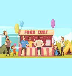 Open air festival food court vector