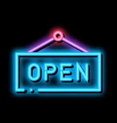 Open nameplate neon glow icon vector