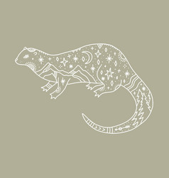 otter and night landscape inside double exposure vector image