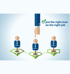 Put the right man on the right job career concept vector