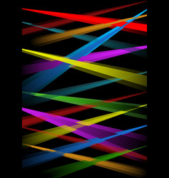 rainbow laser rays on black background vector image