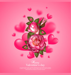 realistic 3d floral valentines day card vector image