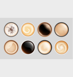 realistic coffee cup top view hot latte vector image