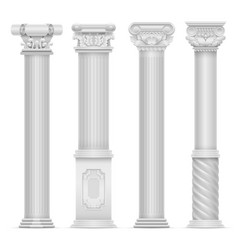 Realistic white antique roman column set vector